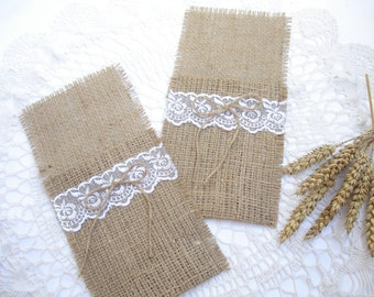 Set of 65- Burlap Silverware Holder wish white lace and  bow  - Table Decor - Rustic Wedding - Wedding Table  - Table Setting