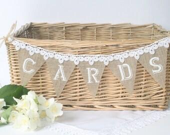Burlap Wedding CARDS Banner,  Rustic Wedding Decoration, Shabby Chic, Wedding Sign
