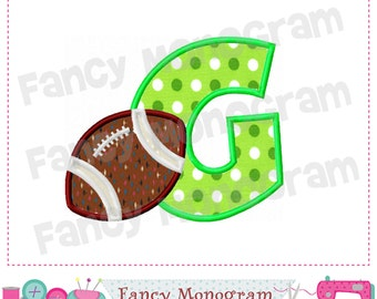 Football Monogram G applique, Football Letter G applique,G,Football ,Sports letter design,Font G,Birthday letter,Machine Embroidery 01