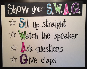 SWAG Poster Classroom Poster // School Poster // Custom Poster