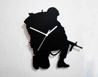 US Army Soldier Silhouette - Wall Clock