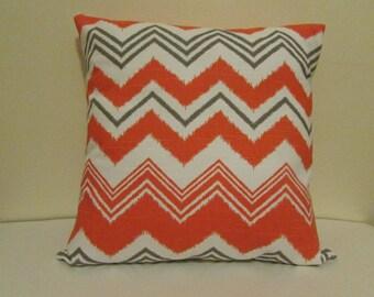 SALE Orange/White Decorative Pillow Cover, Zig Zag White/Orange