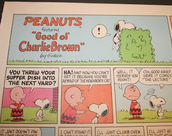 Snoopy Comic, Charlie Brown, Peanuts Comic Strip, Retro Cartoon of the 1960's, Color Print, Charles M Schulz, Frame as you like, Wall Decor