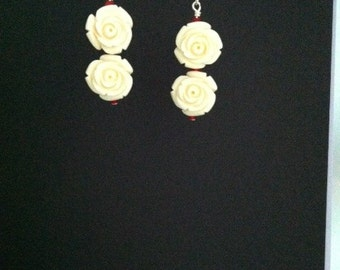 White Rose Earrings with Swarovski Crystals