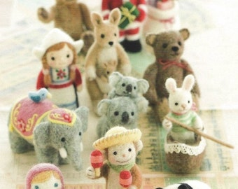 """Japanese  Book """"Small World by Felt""""-needle felting animals,dolls,houses,key chains-Instant Download PDF   file,E-Book#7"""