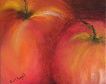 Red apples, Oil painting of Apples, lush red apples, a rich painting with warm hughs, a deep dark wood frame