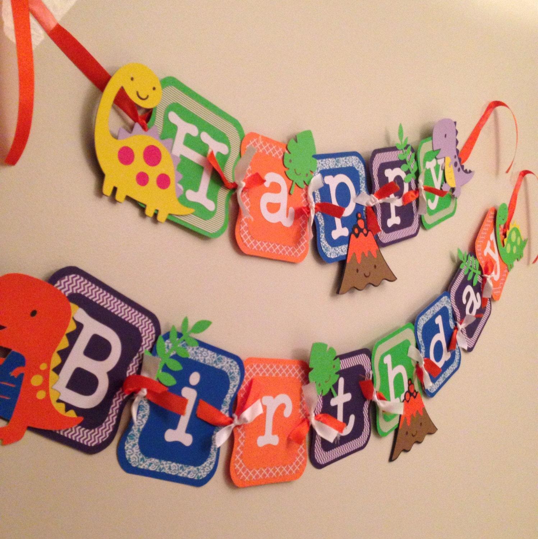 Dinosaur birthday banner dinosaur party