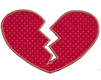 Broken Heart Applique Design -In Hoop size 5 x 7, - Instant Download - for Embroidery Machines
