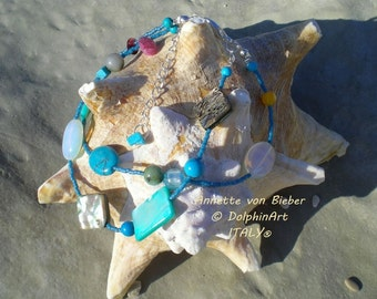 Bracelet THE SONG of a MERMAID with Mother of Pearl, Moonstone, Turquoise, a small chain and snap hook.