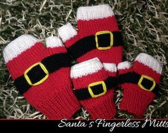 Santa's Fingerless Mitts for the Family Knitting Pattern