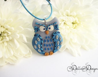 Night Guardian - Handmade Polymer Clay Owl Pendant - Unique Jewelry - Made to Order