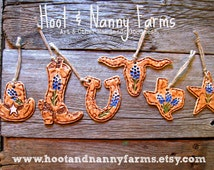 Set of 6 Tiny Bluebonnet Ornaments / Rustic Texas Ranch Decor / Texas Bluebonnet Christmas Gifts / Texas Gift Tags / Texas Souvenirs