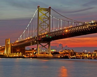 Ben Franklin Bridge in Philadelphia at Sunset Giclee Canvas Art 20x27
