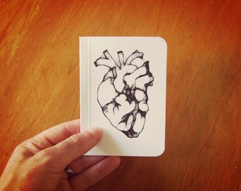Heart Notebook, Pocket Journal, Original Handmade Mini Diary and Jotter, Valentine Gift, Anatomical Heart, Blank Paper Notebook
