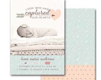 Printable Girl Arrow Birth Announcement - Custom Girl Arrow Tribal Baby Announcement - digital file
