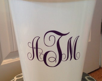 Small White Monogrammed Trash Can