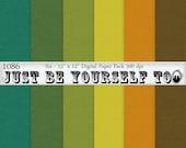 12 x 12 Inch Green Orange Teal and Yellow Solid Digital Scrapbook Papers Instant Download Set of 6 JPEG Digital Cardstock 1086