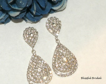Rhinestone Drop Wedding Earrings, Elegant Drop Bridal Earrings, Wedding Earrings, Earrings For Bride