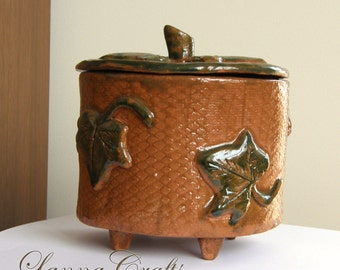 Ceramic box, brown green, with cover, OOAK, ornament with maple leaves
