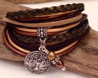 Top Seller! Leather Bracelet, Boho Wrap Bracelet, Leather Cuff Bracelet,  Custom Charm, Cross, Copper, Brown, Gold, Personalized Bracelet