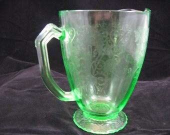 Green FLORENTINE No.1 Footed Pitcher Hazel-Atlas DEPESSION VASELINE Glass