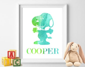 Watercolor Snoopy Baby Boy Name Nursery Art Personalized Baby Shower Gift Wall Art Blue Green Teal