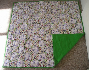 Multi Colored Flannel Coffee and Hearts Lap Quilt