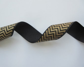"Gold and Black Chevron Ribbon Metallic Wired Ribbon 1 1/2"" inch wide Grosgrain Ribbon Gift Wrap Gift Basket Wreath Holiday Home Decor  LF004"
