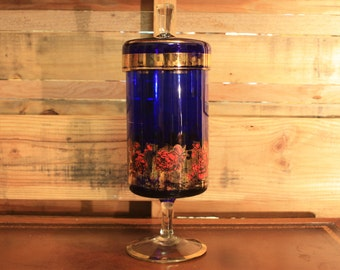 Cobalt Blue Red and Gold Flower Vase with Lid