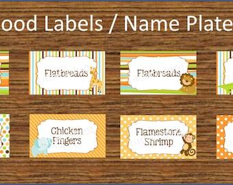 Jungle Food Labels / Name Plates - DIGITAL FILE