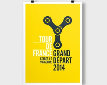 Tour De France, Grand Depart, Stages 1-2 Yorkshire. A2 poster. Theme; Yorkshire Chain.
