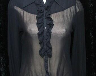 Vintage SANDRA ANGELOZZI black sheer silk blouse - US size 12 or 42 European