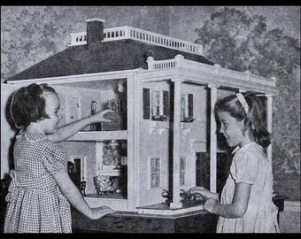 Colonial Mansion - Vintage Doll House Building Pattern - Printable Digital Pattern (.pdf) - Immediate Download! Plans & Instructions