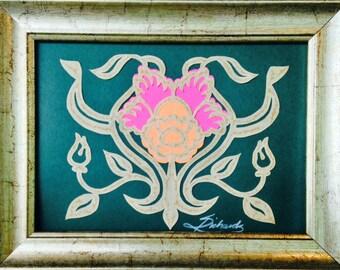 """Daffodil, ORIGINAL ART, Handmade Paper Cutting, Scherenschnitte, 4x5"""""""
