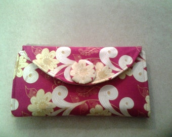 Hot pink with Yellow Flowers - Wallet  - W123