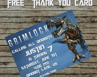 Transformer Grimlock Birthday Invitation DIY Cusom Order