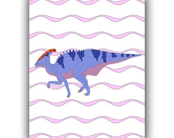 Dinosaur art, Nursery art print, Dino Poster,  Decor for kids rooms, Play room decor,  Charonosaurus over wave background, 11x14,