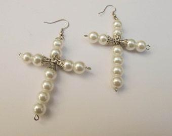 Pearl cross earrings in white.Hand-made