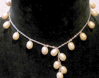 Cafe Society Collection:  Silver Chain with Gold Pearls