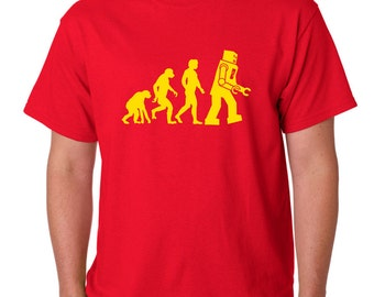 Mens T shirt Big Bang Theory Inspired Evolution Robots size Small to 2XL
