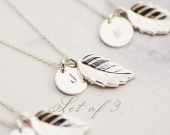 FREE SHIPPING - Set of 3 Bridesmaid Gift Set with Initial Charm - Bridesmaid Gift - 10% DISCOUNT