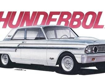 1964 Ford Fairlane Thunderbolt 12x24 inch Art Print by Jim Gerdom