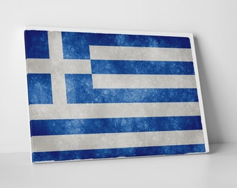 Vintage Greece Flag Gallery Wrapped Canvas Print