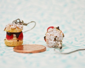 St Honore pastry polymer clay dangly earrings