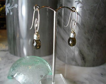 TOM K Smoky quartz Briolette Pendant Mix & Match Earrings faceted onyx gold earrings