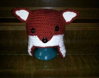 Crocheted Red Fox Hat-Toddler/Child Size