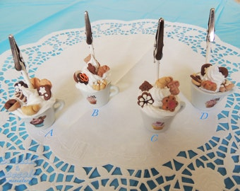 Photo cups with whipped cream and cakes in different variants