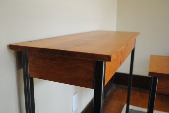 Foyer Table Used : Metal leg entryway table in solid cherry wood used by