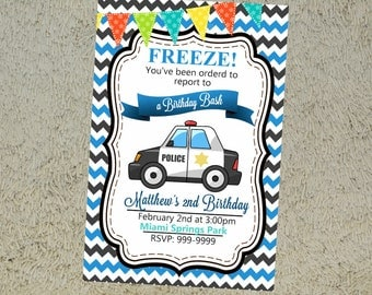 Printable Police Birthday Invitation Police Birthday Party Invitation Chevron Pattern Freeze Invitation Police Invitation