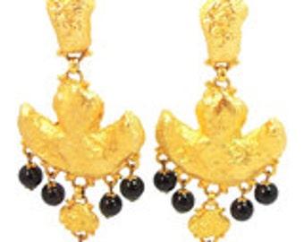 Yosca Gold Dangle Clip Earrings Vintage 1980